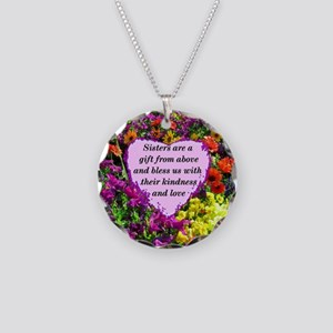 SISTER BLESSING Necklace Circle Charm