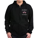 Christmas Flamingos Zip Hoodie (dark)