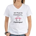 Christmas Flamingos Women's V-Neck T-Shirt