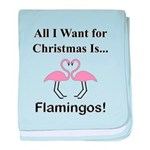 Christmas Flamingos baby blanket
