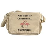 Christmas Flamingos Messenger Bag