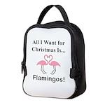 Christmas Flamingos Neoprene Lunch Bag