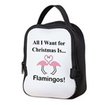 Christmas Flamingos Neoprene Lunch Bag