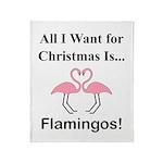 Christmas Flamingos Throw Blanket