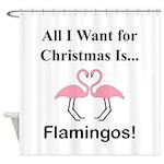 Christmas Flamingos Shower Curtain
