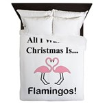 Christmas Flamingos Queen Duvet