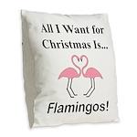 Christmas Flamingos Burlap Throw Pillow