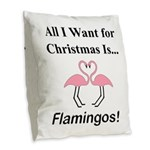 Christmas Flamingos Burlap Throw Pillow