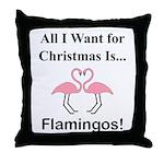 Christmas Flamingos Throw Pillow