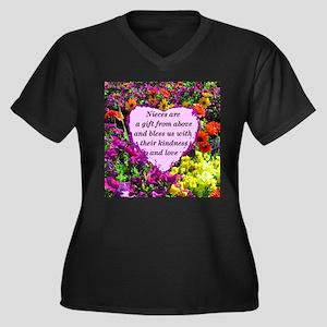 NIECE BLESSI Women's Plus Size V-Neck Dark T-Shirt