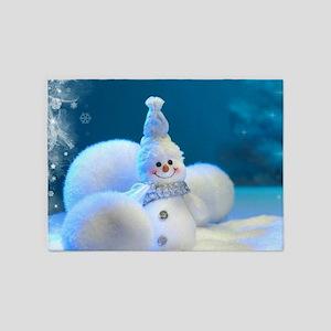 Christmas Snowman 5'x7'Area Rug