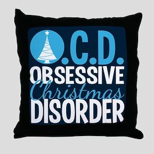 Christmas Blue Throw Pillow