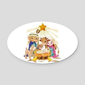 Nativity- Oval Car Magnet