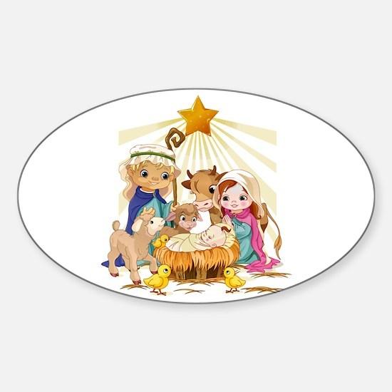 Nativity- Sticker (Oval)