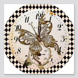 """Steampunk Butterfly Square Car Magnet 3"""" x 3"""""""