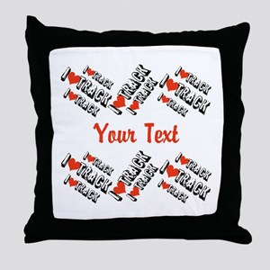 Customize I Love Track Throw Pillow