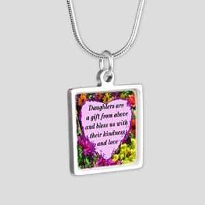 BLESSED DAUGHTER Silver Square Necklace