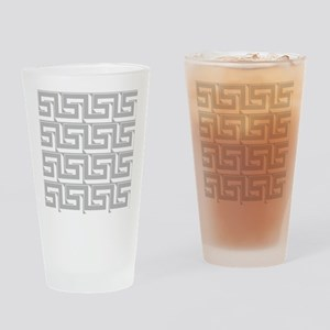Elegant Gray Greek Key Drinking Glass