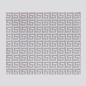 Elegant Gray Greek Key Throw Blanket