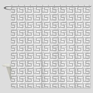 Elegant Gray Greek Key Shower Curtain