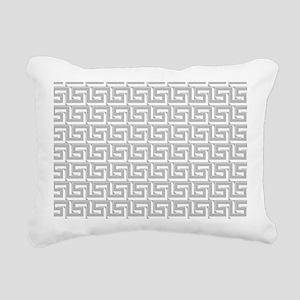 Elegant Gray Greek Key Rectangular Canvas Pillow