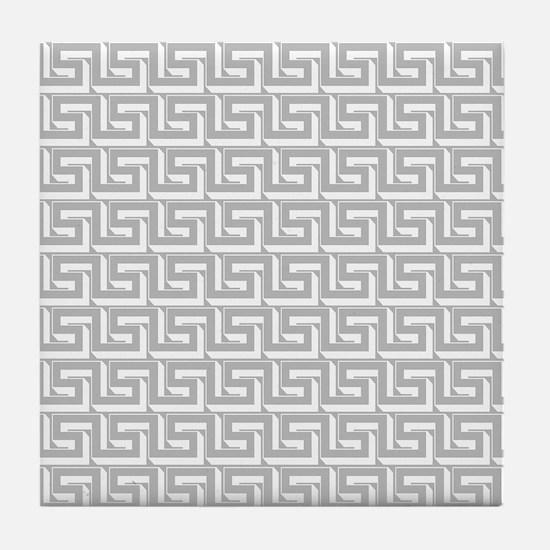 Elegant Gray Greek Key Tile Coaster