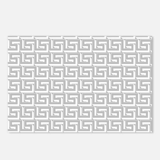 Elegant Gray Greek Key Postcards (Package of 8)