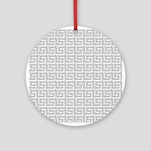 Elegant Gray Greek Key Ornament (Round)