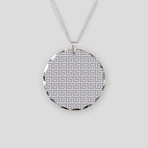 Elegant Gray Greek Key Necklace Circle Charm