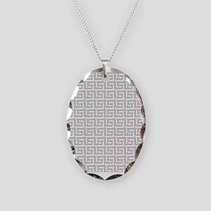 Elegant Gray Greek Key Necklace Oval Charm