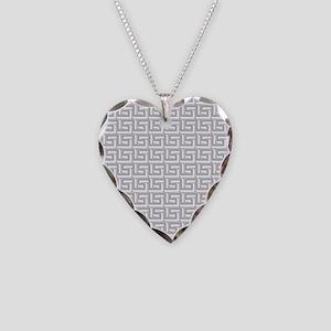 Elegant Gray Greek Key Necklace Heart Charm