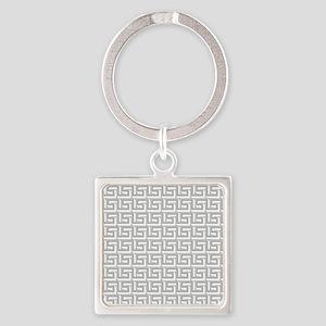 Elegant Gray Greek Key Square Keychain