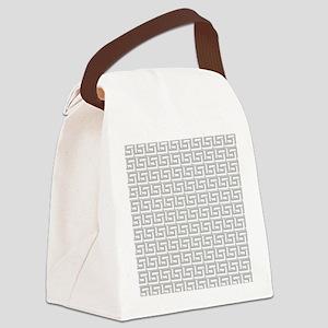 Elegant Gray Greek Key Canvas Lunch Bag