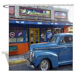 Classic Blue Car Shower Curtain