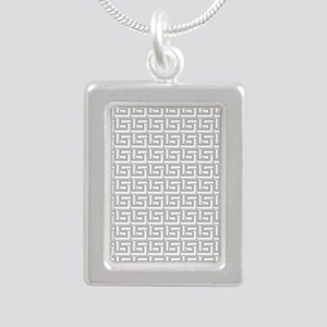 Elegant Gray Greek Key Pattern Necklaces
