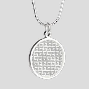 Elegant Gray Greek Key Pattern Necklaces