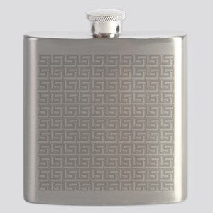 Elegant Gray Greek Key Pattern Flask