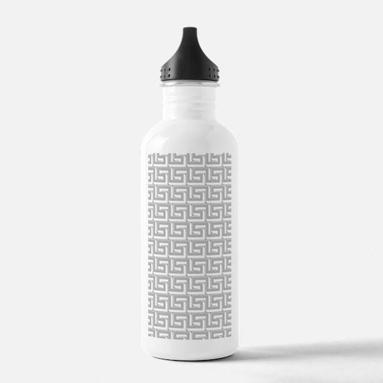 Elegant Gray Greek Key Water Bottle