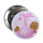 African American Baby Girl Announcement Button