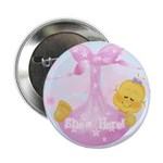 Baby Girl She's Here Announcement Button