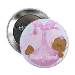 Baby Girl She's Here! Baby Announcement Button