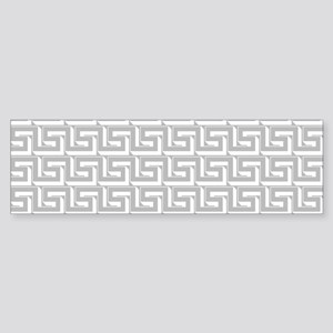 Elegant Gray Greek Key Pattern Bumper Sticker