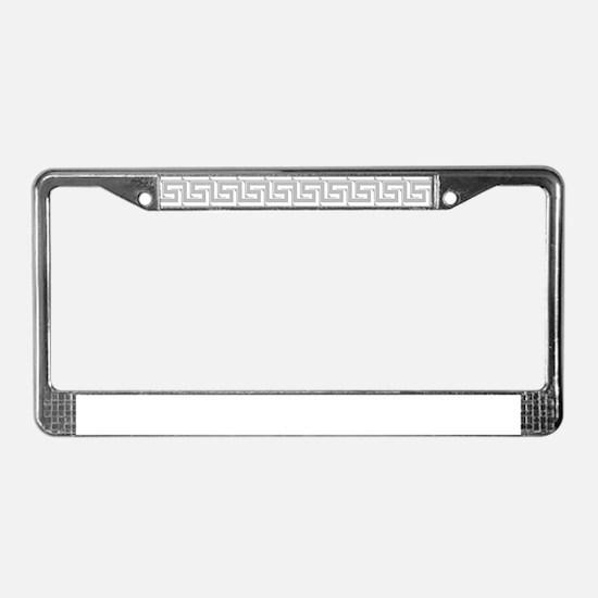 Elegant Gray Greek Key Pattern License Plate Frame