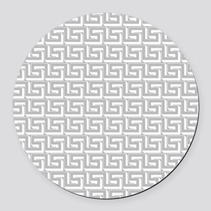 Elegant Gray Greek Key Pattern Round Car Magnet