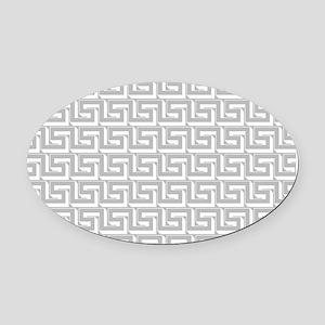 Elegant Gray Greek Key Pattern Oval Car Magnet