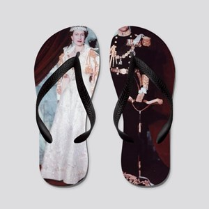 queen elizabeth the second Flip Flops