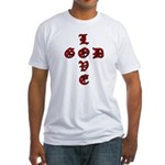 LOVE GOD -CROSS- CHRISTIAN Fitted T-Shirt