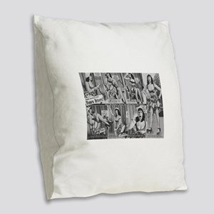 bettie page Burlap Throw Pillow