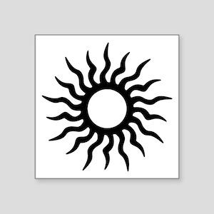 "Tribal Sun Symbol Square Sticker 3"" X 3"""