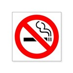 "No Smoking Symbol Square Sticker 3"" X 3"""